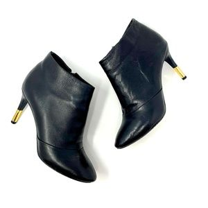 Pour La Victoire Black Leather Gold Heeled Booties
